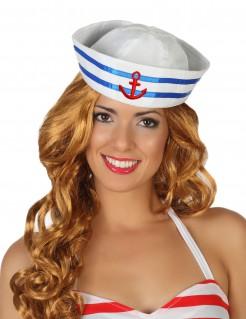 Matrosenmütze Seefahrermütze mit Anker weiss-blau-rot