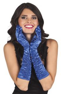 Lange Satin-Handschuhe für Damen blau