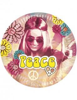 70er Pappteller Party-Deko Flower Power 6 Stück bunt 25cm