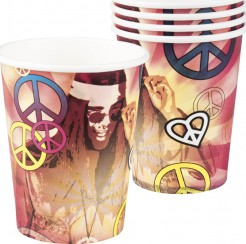 70er Pappbecher Party-Deko Flower Power 6 Stück bunt 250ml