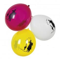 Western-Luftballons Wild West 6 Stück gelb-pink-weiss 25cm