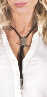 Westernhalsband Erwachsene schwarz-silber