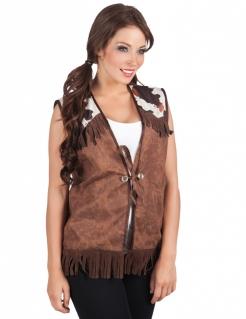 Cowgirl-Weste Western-Jacke mit Kuhflecken für Damen braun-weiss