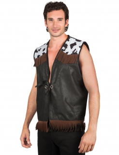 Ärmellose Cowboy-Weste mit Kuhflecken schwarz-weiss-braun