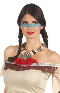 Indianerkette mit Federn braun-beige-rot