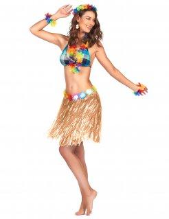 Hawaii Bastrock Kostüm-Accessoire mit Blumen beige-bunt