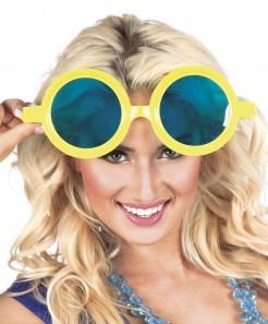 Riesenbrille Karnevalsbrille blau-gelb