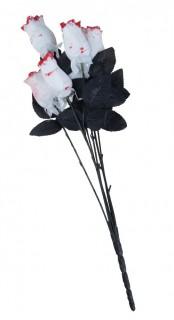 Gothic Rosen Halloween Rosenstrauss 6 Stück schwarz-weiss-rot 23cm