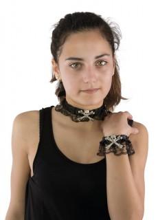 Halloween-Schmuckset mit Schädeln und Spitze Halsband und Armband 2-teilig schwarz-weiss