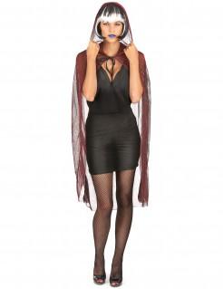 Spinnen-Cape mit Kapuze Halloween Kostümaccessoire transparent-rot