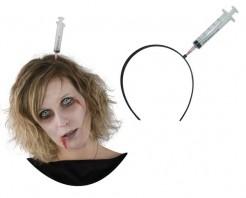 Spritzen-Haarreif Horrorkostüm-Accessoire schwarz-grau