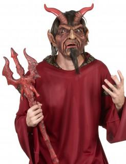 Hochwertige Teufel-Latexmaske mit Haaren