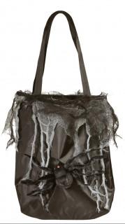 Spinnennetz-Tasche Halloween-Handtasche mit Deko-Spinne schwarz-grau 31cm
