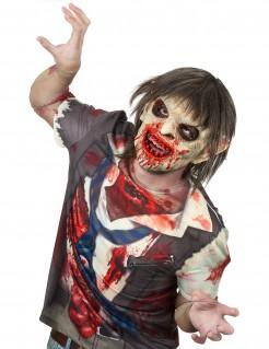 Blutverschmierte Zombiemaske mit Haaren