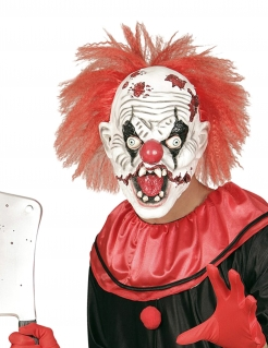 Durchgedrehte Psychoclown Horror-Maske weiss-rot-schwarz