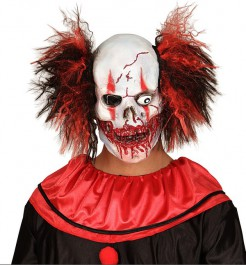 Grauenhafte Horrorclown-Maske mit blutigverschmiertem Mund Halloweenmaske weiss-rot-schwarz