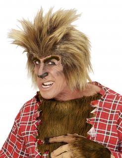 Werwolf-Perücke Halloweenperücke mit Augenbrauen blond