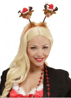 Rentier-Haarreif Weihnachts-Accessoire bunt