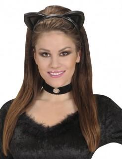 Katzenohren-Haarreif Lederoptik schwarz