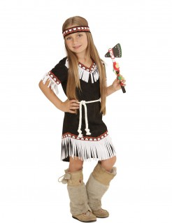 Indianerin Wildwest Kinderkostüm schwarz-rot-weiss