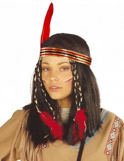 Indianerin Perücke mit Stirnband schwarz-rot-gold-grün