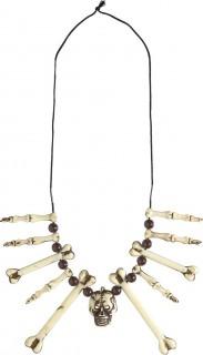 Totenkopf Halskette Halloween-Schmuck beige-braun