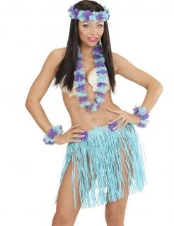 Hawaii-Outfit für Damen himmelblau-violett