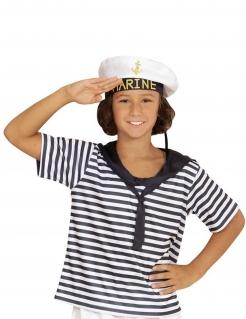 Matrosen-Kinderkostüm Shirt und Mütze weiss-blau