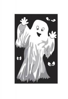Halloweenparty-Fensterdeko Skelett oder Geist schwarz-weiss 1,22x0,76m