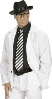 Krawatte Punk Gothic gestreift schwarz-weiß