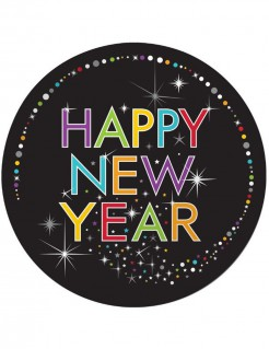 Silvester Partyteller Happy New Year 8 Stück schwarz-bunt 23cm