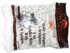 Spinnennetz mit 8 Spinnen Halloween-Partydeko weiss-schwarz 113g