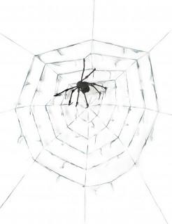 Schauriges Riesen-Spinnennetz Halloween-Dekoration weiss-schwarz 2,9m