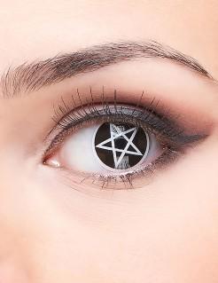 Okkultisten-Kontaktlinsen Pentagramm-Linsen 2 Stück schwarz-weiss