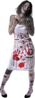 Blutige Schürze Halloweenschürze weiss-rot 87cm