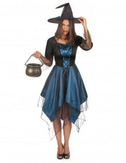 Zauberhafte Hexe Halloween-Damenkostüm blau-schwarz