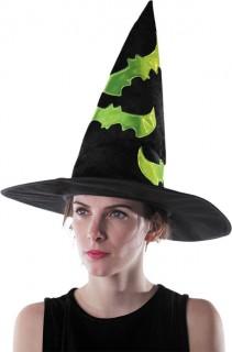 Hexenhut mit Fledermäusen schwarz-grün