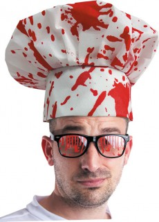Horror Kochmütze mit Blutspritzern Halloweenaccessoire weiss-rot