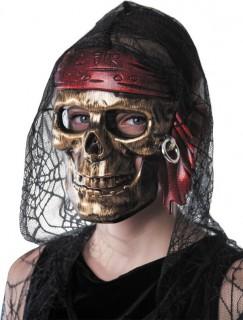 Totenkopf-Maske untoter Pirat gold-rot-schwarz