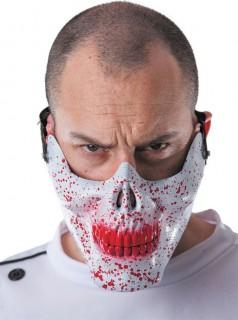 Schädelmaske mit Blutflecken Horror-Maske weiss-rot
