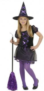 Hexen-Mädchenkostüm schwarz-lila