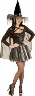 Glitzer Hexe Halloween Damenkostüm schwarz-silber
