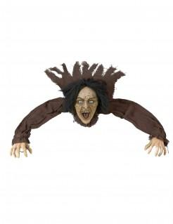 Sprechende Hexe mit Leuchtaugen Halloween-Bodendekoration grau 90cm