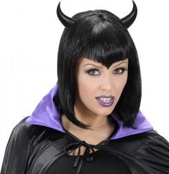 Haarreif mit Teufelshörnern Halloweenkostüm-Accessoire schwarz