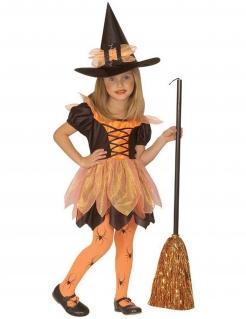 Hexen-Kostüm für Mädchen Spinnenhexe schwarz-orange