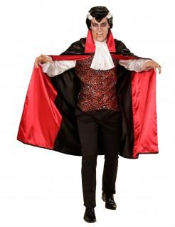 Herrschaftlicher Vampirgraf Dracula Halloween Herrenkostüm schwarz-rot-weiss