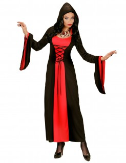 Vampirin Halloween-Damenkostüm mit Kapuze schwarz-rot