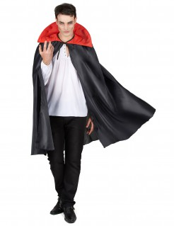 Vampir-Cape Halloweenaccessoire mit Kragen schwarz-rot