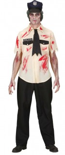 Zombie Polizist Halloween-Kostüm beige-schwarz