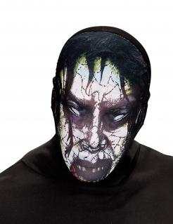 Enganliegende Zombiemaske Halloween-Strumpfmaske schwarz-weiss-lila